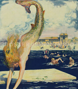 The pursuit 1910 Vintage Diving Mermaid Giclee Canvas Print 12x14
