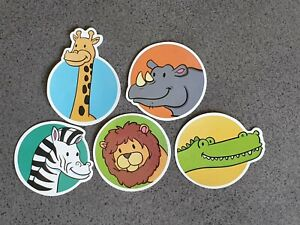Cartoon Animal sticker pack x5, kids, crocodile, lion, zebra