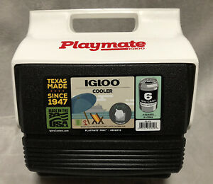 NEW Igloo Playmate Black Plastic Mini Cooler Ice Chest Lunch Box - 6 12oz Cans