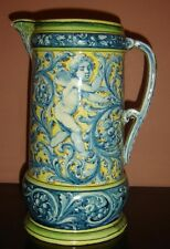Antique Italian Faience Majolica Large Pitcher Signed Angelo Minghetti 1822-1885