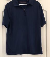 Perry Ellis Mens 1/4 Zip Polo Shirt M Blue Lightweight Golf Short Sleeve