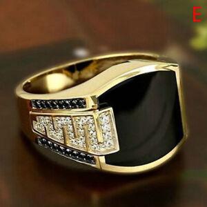 Men's Fashion  Ring Natural Charm Black Sapphire Gemstone Diamond Ring JeweY AG