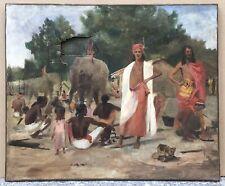 Tableau Ancien Huile Scène Afrique Village Tribu Éléphant XIXe À Restaurer