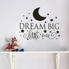 Dream Big Little One Wall Sticker Decal Quote Nursery Bedroom Baby Boy Kids Deco