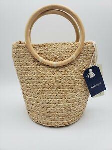 NWT HATATTACK Raffia Handbag / Crossbody Purse  Wooden Handles Linen Lined...
