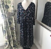 M&S 14 Navy midi boho floral button tassel floaty summer holiday NEW cottagecore