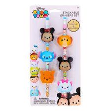 Disney TSUM 6 Stackable Eraser Set School 2 Bonus Pencils Mickey Minnie Stitch