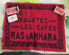 ANCIEN TAPIS DE JEU PUBLICITAIRE CAFÉS RAS d'AMHARA + 2 JEUX DE CARTES
