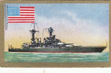 Ship Battleship USS West Virginia BB-48 US Navy USA Flag CARD IMAGE 30s