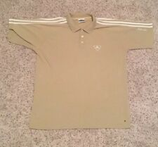 Vintage Adidas Adi Dassler 3 Stripes Mens S/S Tan Beige Tennis Polo Men's SZ L