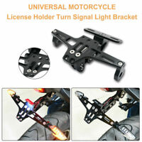 Motorcycle Adjustable CNC Number Plate Tail Tidy Lisence Bracket + LED Light #