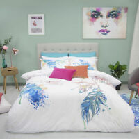 Retro Home Hulu Feather Vintage Quilt Doona Cover Set - SINGLE DOUBLE QUEEN KING