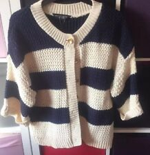 BNWT Navy And Cream chunky knit Striped Cardigan 16