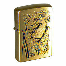 Zippo lighter 204B Brushed Brass Proud Lion 36x12x56 mm