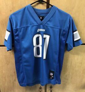 Detroit Lions Calvin Johnson Team NFL Jersey, Sz Youth Medium, 10-12, Blue
