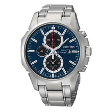 Seiko Solar SSC085 Silver Tone Steel Blue Dial Chronograph Date 45mm Mens Watch