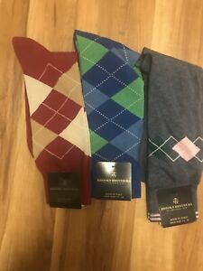 Brooks Brothers Mens 1 Pair Olive Green Plaid Cotton Blend Socks 7-12 8410-5