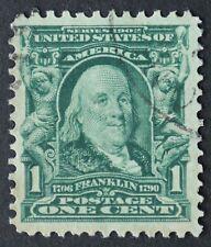U.S. Used #300 1c Franklin, Superb Jumbo. Face-Free CDS Cancel. A Gem!