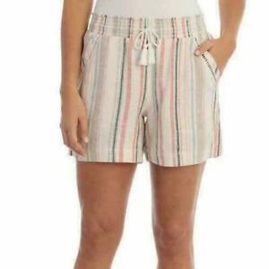 NWT Briggs Ladies' Linen Blend Pull-On Short Multi Stripe Pink, Small