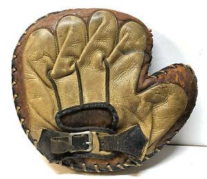 Vtg 1930's Dubow Sporting Goods Chicago Buckle Back Baseball Catchers Glove Mitt