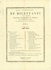 Documento antico ed originale Teatro Patriotico  1797 Reggio Emilia