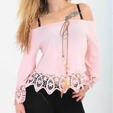 leichte Damen Spitzen Bluse Carmen Beach Look rosa mint weiss Sommer Urlaub