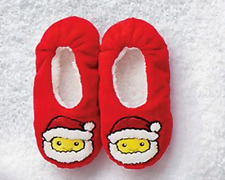 Justice Girl's Size 1-2 Santa Smiley Emoji Slippers New with Tags
