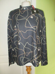 BNWT VERY SIZE 16 WOMENS BLACK CHAIN PRINT STRETCHY TOP HIGH NECK GENEROUS FIT