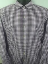 Tommy Hilfiger Mens Long Sleeve Purple Checker Button Down Dress Shirt 16 1/2 34