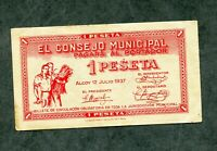 BILLETE LOCAL 1 PESETA ALCOY 1937 EBC -