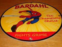 """VINTAGE BARDAHL SPIDER MAN COMIC BOOK 11 3/4"""" PORCELAIN METAL GASOLINE OIL SIGN!"""