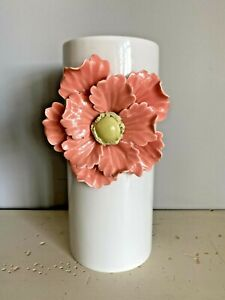 Anthropologie Ceramic Bud Bloom 3D Flower Vase White Pink Peach Yellow Floral