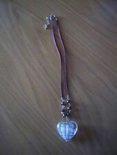 BN Necklace - brown suede with beads & clear opaque love heart
