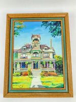 Deb Fleming Signed Oil Painting Victorian Mansion House Colorful Architecture