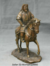 "10.4"" Rare Antique Old China Bronze Genghis Khan Jenghiz Khan Ride Horse Statue"