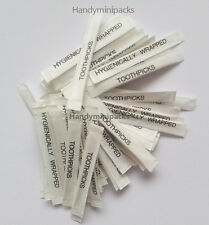 100 Individually Wrapped Wooden Toothpicks 65mm Ideal for Home or Catering