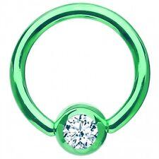 """Captive Lip Ear Eyebrow Ring 16 Gauge 5/16"""" Titanium Green w/Clear 3mm Gem Body"""