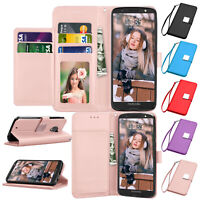 For Motorola Moto G6 Leather Flip Wallet Case Magnetic Protective Stand Cover