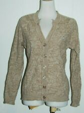 Monte Carlo Merino Wool Blend Beige V Neck Knit Button Cardigan Sweater 40 Med