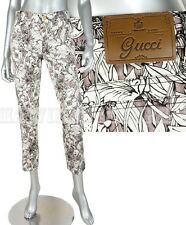$695 GUCCI PANTS FLORA FLORAL HOLIDAY CROPPED TROUSERS sz IT 42 US 6