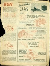 1951 vintage GE HOW TO MAKE A TIN CAN ELECTRIC MOTOR BOOKLET BACK COVER