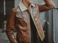 Mens Biker Motorcycle Cafe Racer Distressed Brown Winter Real Leather Jacket