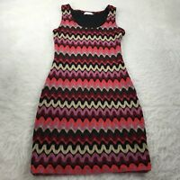 CALVIN KLEIN Women's Size 8 Knit Sheath Dress Black Pink Cream Sleeveless Career
