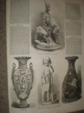 Dublin Exhibition Sevres Vases & Lombardi marble statue 1865 prints ref C