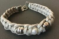 GREY Suede Friendship bracelet with A Pearl And T Bar Fastener boho Bijoux