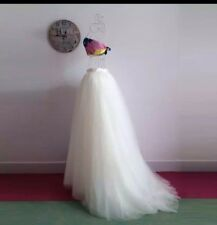 UK White/ivory Multiple Colors 5 Layer Tulle Skirt Train Wedding Dress Size 6-20