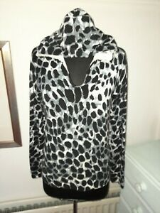 Dolce Cabo Leopard Animal Print Hoodie Jumper - Size M -