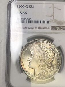 1900-O Morgan Silver Dollar NGC MS66 Lightly Toned Obv And Rev