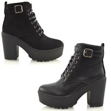 Ladies Chunky Cleated Platform Sole Womens Retro Goth Combat Lace Up Ankle Boots