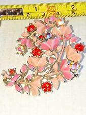 Pink Enamel Painted Floral Brooch
